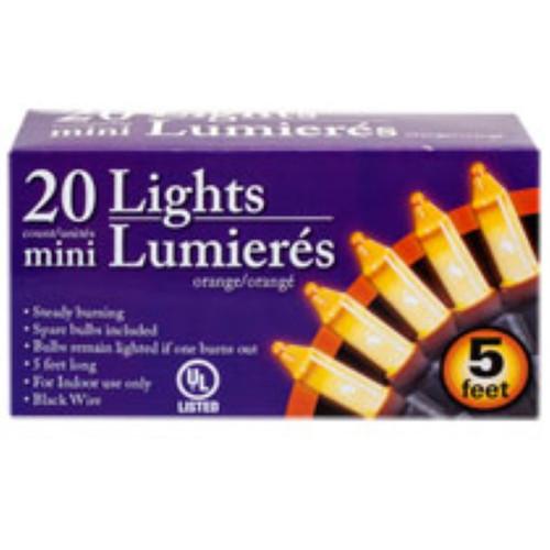 Mini Orange Halloween Lights, 5 ft. strands lot of 5 (182914)