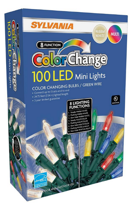 Sylvania 8-Function Color Changing M7 LED Lights, 100 ct. - Warm White and Multicolor (V46000-60