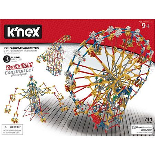 K'NEX Thrill Rides 3-in-1 Classic Amusement Park Building Set - 744 pieces (GS06-DJ BLUE)