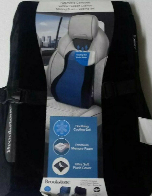 Brookstone Automotive Contoured Lumbar Support Cushion Memory Foam + Cooling Gel