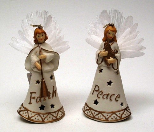 Roman Porcelain Fiber Optic Angel Ornament Set of 2