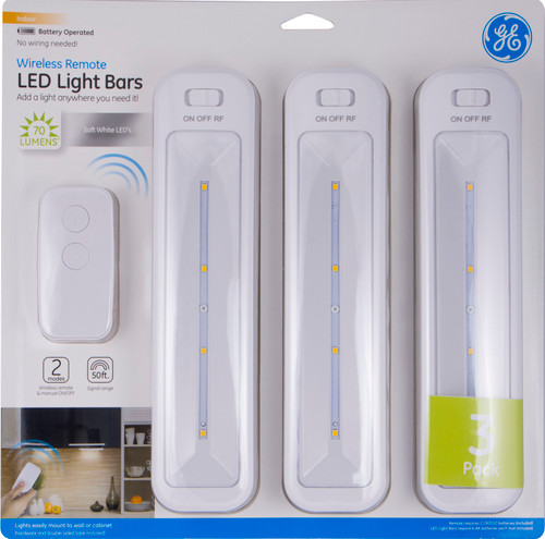 GE Wireless Remote LED Light Bars, Battery-Operated, White, 3-Pack, 38558