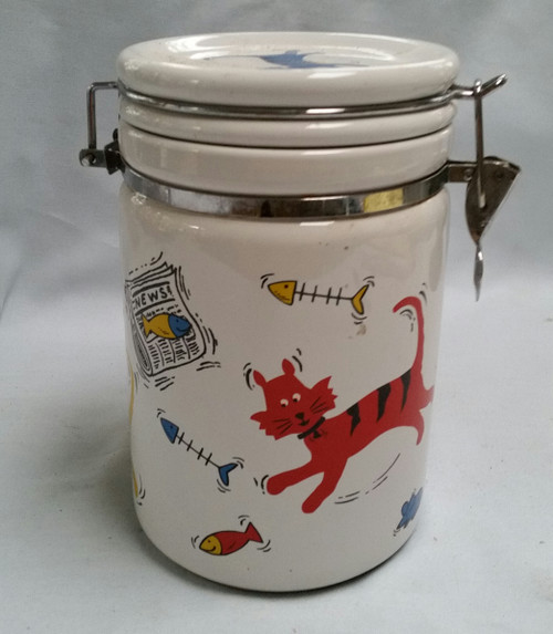 Collectibles Ceramic Cat Decorated Jar