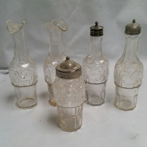 Vintage Glass Kitchen Condiment Bottles Set of 5