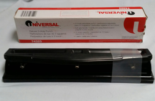 Universal 12-sheet Deluxe 2 or 3 Hole Adjustable Punch Puncher Metal Office Home (UNV74323)