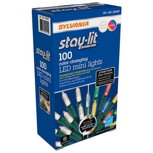 Sylvania Stay-Lit Platinum 100 ct 3 Function Color Changing LED Mini Lights (883624440212)
