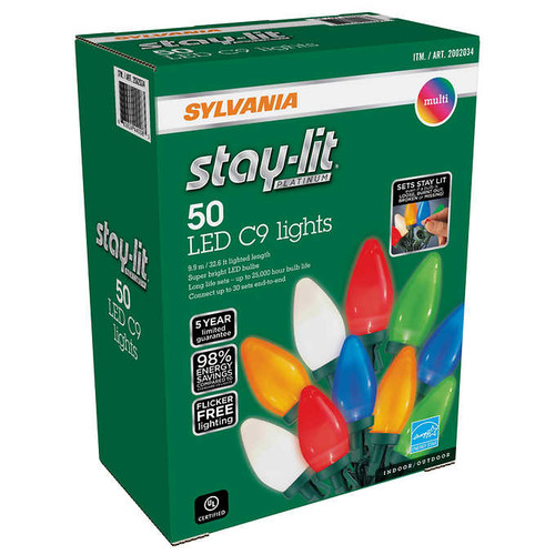 Sylvania STAYLIT Multi-Ceramic 50 ct  C9 LED Light Set
