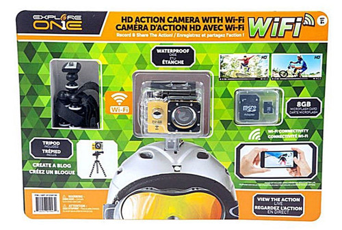 Explore One HD Action Camera + 8GB Micro SD Card + Waterproof Case + Tripod
