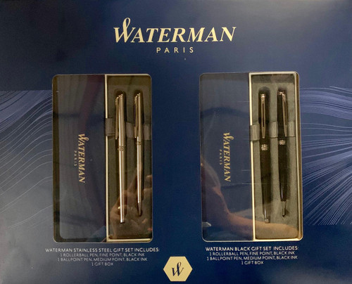 Waterman Paris RollerBall Pen, Fine Point, BallPoint Pen Meduium Point 4 PC Gift Set (0097783002147)
