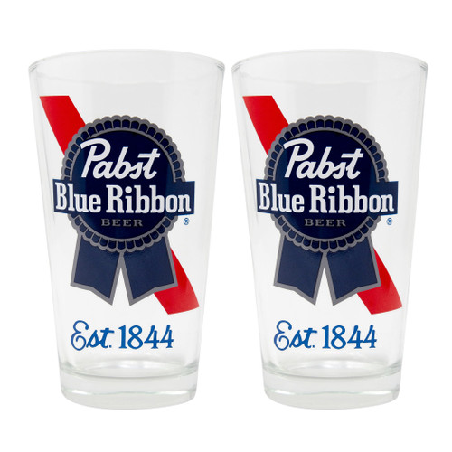 BLUE RIBBON EST 1844 or Bud Light 2PC PUB SET CLEAR GLASS - (812286039274 )