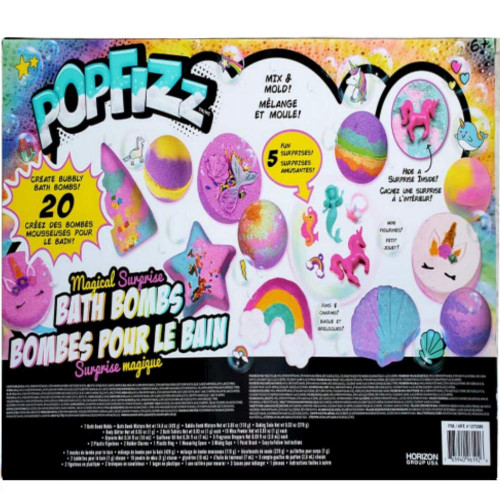 Pop Fizz Magical Surprise DIY Bath Bombs Kit by Horizon Group USA,Create 20 Sweet Treats Magical Colorful Bath Bombs with Essential Oils (COS1273386)