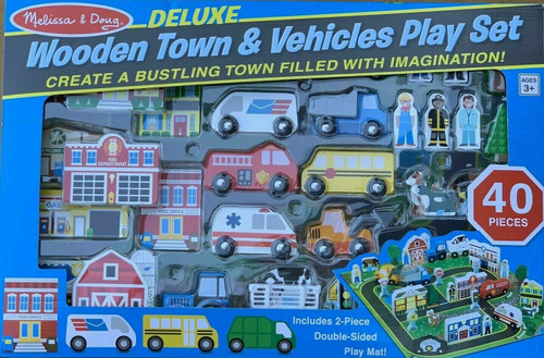 Melissa & Doug Deluxe Wooden Town and Vehicle Playset, Brand New (000772938389)