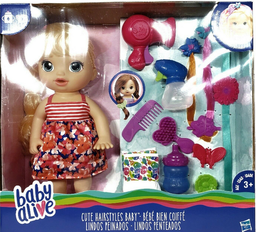 Baby Alive Cute Hairstyles Baby Doll She Drinks, Pees, Style Her Hair New Age 3+ (630509876501)