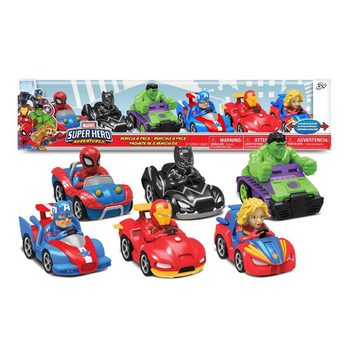 Super Hero Adventures Spider-Man, Black Panther, Hulk, Captain America, Iron Man & Captain Marvel Pullback Vehicle 6-Pack (887030835808)