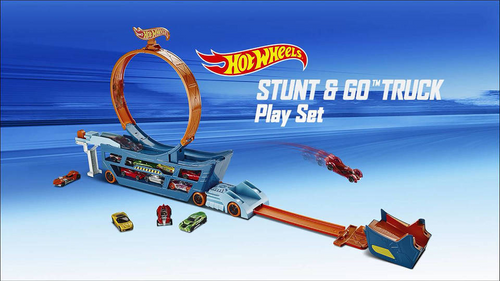 Hot Wheels Stunt & Go Hauler Transporter Track Set + 10 Hot Wheels Cars (