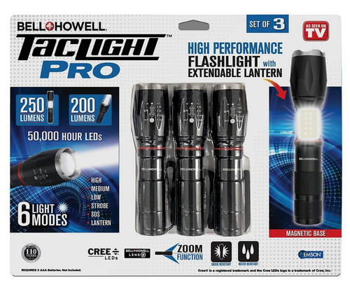 Bell + Howell Taclight Pro High Performance Flashlight, 3 pk. (2823 )