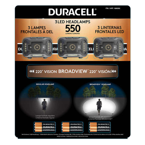 Duracell 500 Lumen LED Headlamp 3-pack
