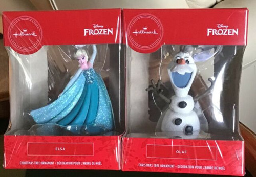 HALLMARK DISNEY FROZEN ELSA AND OLAF CHRISTMAS TREE ORNAMENTS (763795594962)