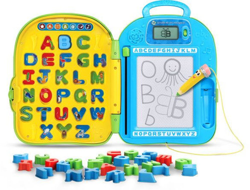 Embark on a learning adventure with Mr. Pencil and the Go-with-Me ABC Backpack™. This one of a kind toy lets toddlers interact with the alphabet in awesome ways. Using the write and erase board, kids can practice letter writing and drawing with Mr. Pencil. The screen shows how to write each letter step-by-step and then shows how to turn each letter into animals. Inserting the 26 letter pieces into the letter spaces teaches the letter name, letter sound, an animal that begins with that letter and more. Little learners can play seven different activities and when they're done, the plastic backpack holds all the pieces inside. Clip the backpack closed and wear like a real backpack for learning on the go. Draw, learn and get going!  For Ages: 3+