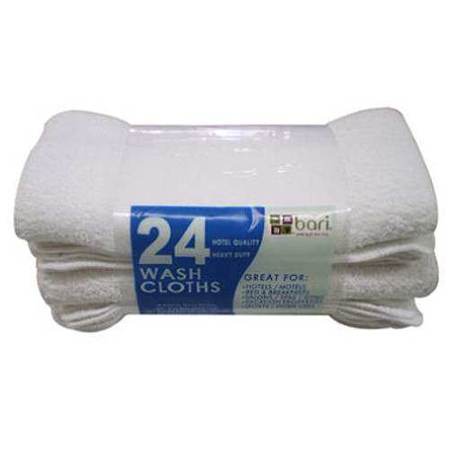 Commercial Hospitality Wash Cloth, White, Set of 24
