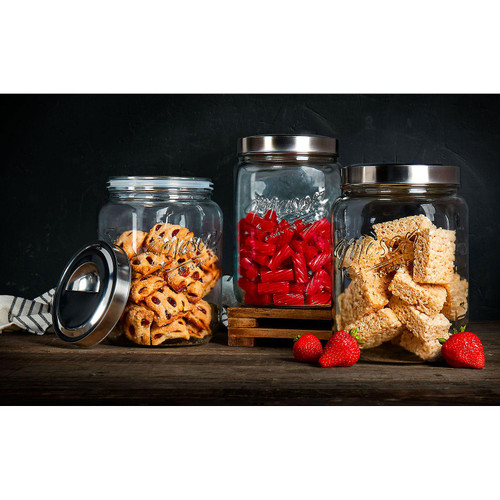 Mason Craft and More Glass Canisters, Set of 3 ( TPT-V0572-EC)