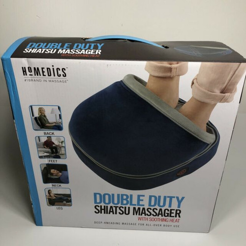 HoMedics Double Duty Shiatsu Massager With Soothing Heat Navy Blue (031262091611