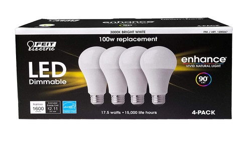Feit Dimmable LED 3000K Bright White 4-Pack (100W Replacement) 17.5W (0178011533996)
