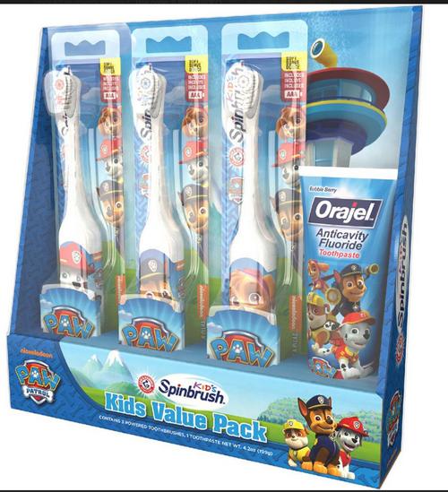 Arm & Hammer Kid's Spinbrush Paw Patrol Electric Toothbrush, 3 pk., with Orajel Anticavity Fluoride Toothpaste, 4.2 oz. ( 66878-50236 )
