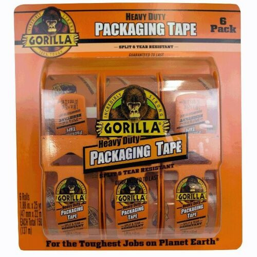GORILLA HEAVY DUTY PACKAGING TAPE, 25 YARDS/ROLL, PACK/6 ( 6034017)