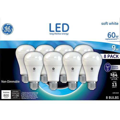 GE 9 Watt A19 LED Bulb (Soft White, 8 pk.) (14380)