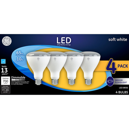 GE Soft White 65W Replacement LED Light Bulb Indoor Floodlight BR30 (4-pack)