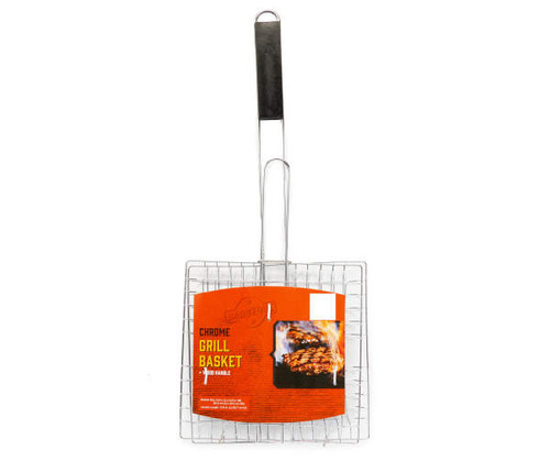 Chrome Grill Basket with Wood Handle (456953)