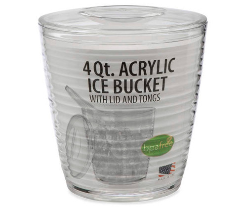 Acrylic Ice Bucket with Lid and Tongs, 4 Qt. (428431)