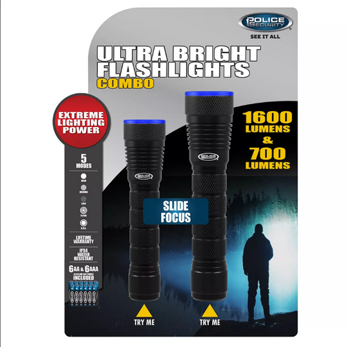 Police Security 700-Lumen and 1,600-Lumen Flashlights Combo, 2 pk. (98707)