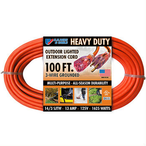 U.S. Wire & Cable 100' Extension Cord - Orange (73100BJS