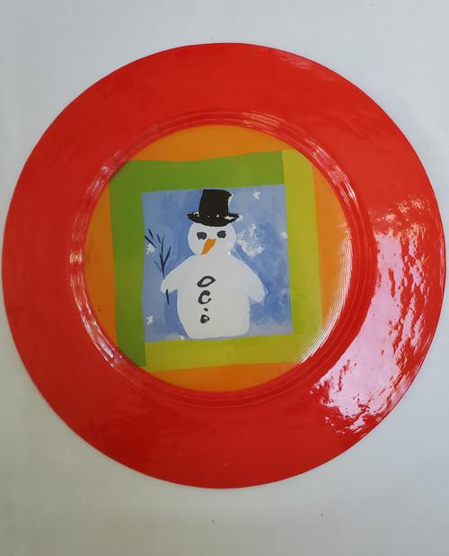 Snowman Ceramic Platter (ij 14)