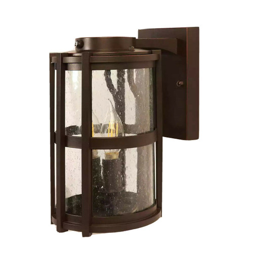 "Feit Elec, 11"" LED Round Coach Light Outdoor Bronze Wall Lantern w Seeded Glass (CRI: 90)"