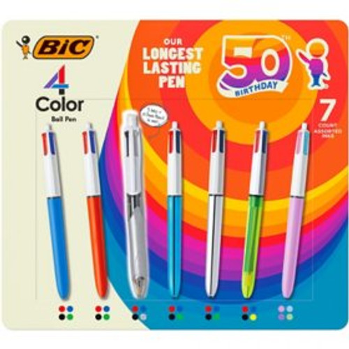 BIC 4-Color Retractable Ballpoint Pen, Med Pt. 1.0mm, 7-pack