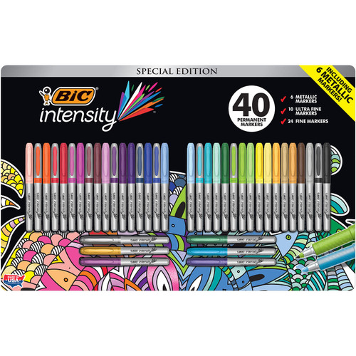BIC Intensity Fashion Permanent Markers, Ultra & Fine Point, Asst. Colors, 40 Ct ( WC7MC725-C-AST)