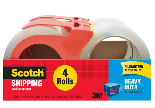 Scotch Heavy Duty Shipping Packaging Tape with Dispenser, 4 Rolls (3850-4-2RD)