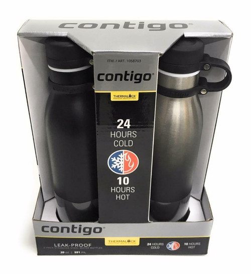 Contigo 2 Water Bottles Stainless Ombre & Matte Black Insulated Leak Proof (607869228622)