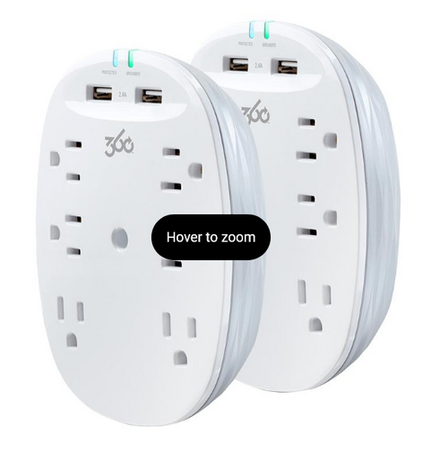 360 Electrical Studio 6-Outlet Surge Tap with 2-Port USB Combo Pack (360715-6PDES)