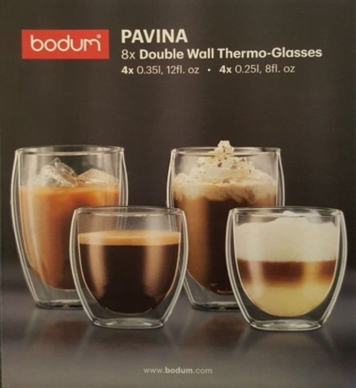 BODUM Pavina Double Wall Thermo Glasses Coffee Cups 4 x 350ml 4 x 250ml set of 8 (699965367268 )