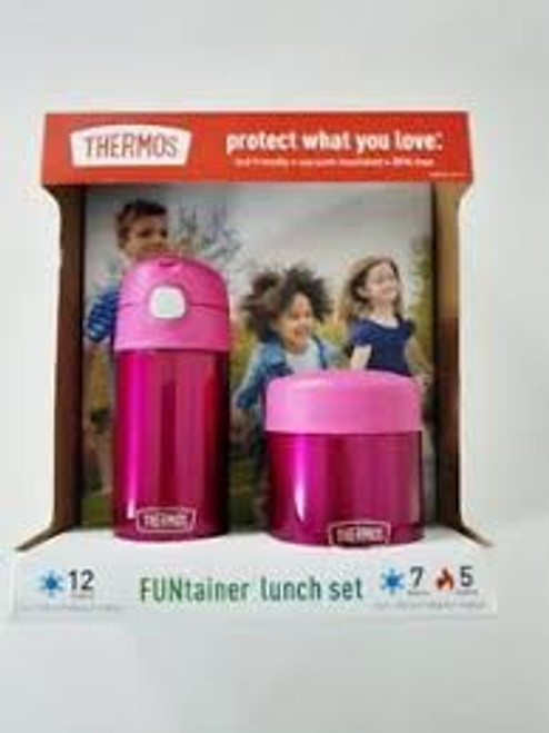 FUNtainer Thermos Lunch Set Pink 12 oz Bottle and 10 oz Food Jar Kids Friendly (041205741350)
