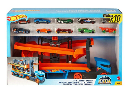 Hot Wheels Lift and Launch Hauler With 10 Cars Play Set MATTEL (887961873979)