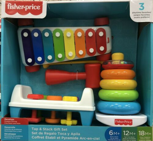 Fisher-Price Tap and Stack Develops Problem Solving Colorful Basics Bundle (313105355327)