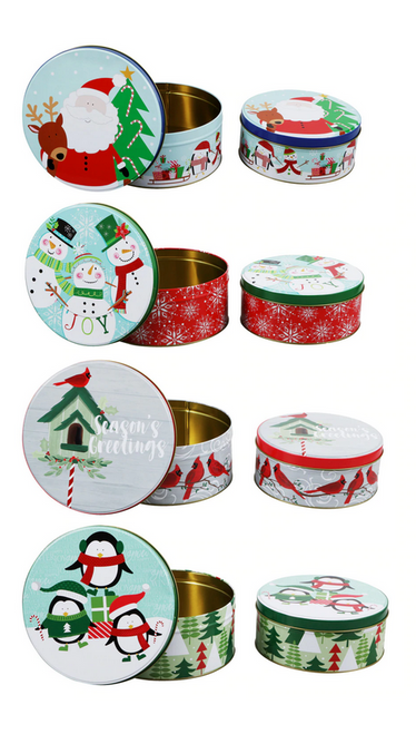 Christmas Prints Round Tins with Lids (207839)