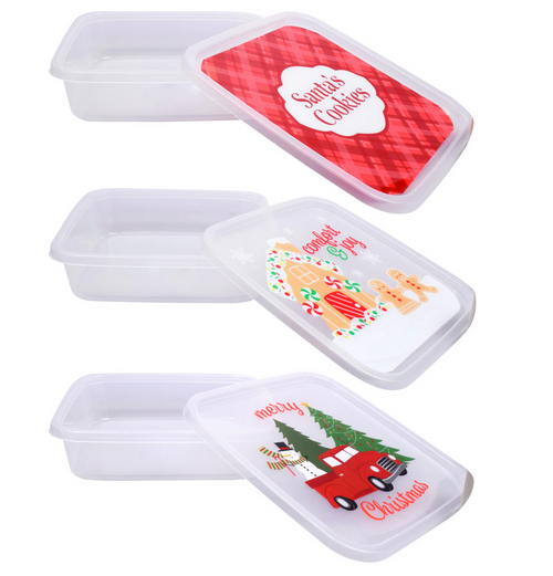 Christmas-Themed Square Plastic Containers, 10 in. (296524)