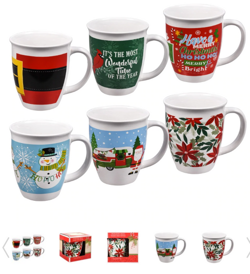 Holiday Gift Boxed Ceramic/Stoneware Mugs Mix n' Match (281838)