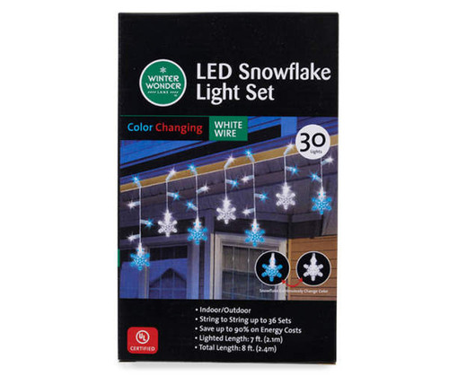 Blue & White Color-Changing LED Snowflake Light Set, 30-Lights